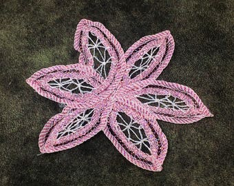 Pink Glitter Flower Sew On Applique