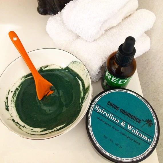 Spirulina green clay - Wakame and spirulina Detox antioxidant clay mask- antiaging