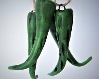 Green Chili Pod Beads, Clay Beads, 55x15mm, 2 pods each, D1081