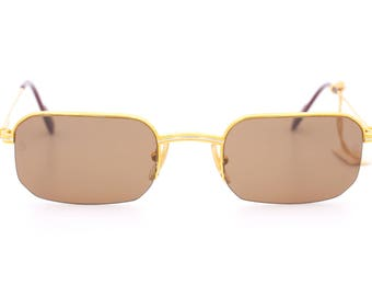 Exclusive vintage half-rimmed sunglasses Cartier Broadway 767S OR / 51 23 made in France 1997