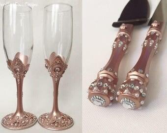 Rose Gold Toasting Flutes, Rose Gold Cake Server, Rose Gold Cake Cutter, Rose Gold Champagne Flutes, Rose Gold Wedding, Rose Gold Glasses
