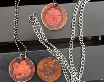 Men's Leather Necklace - Nautical Necklace, Ocean Necklace , Sand Dollar Necklace , Anchor Necklace Octopus Necklace, Surfer Necklace