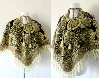 1960's Spanish Tapestry Poncho With Fringe/ Vintage Bohemian Fringed Tapestry Poncho
