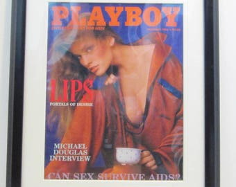 Vintage Playboy Magazine Cover Matted Framed : February 1986 - Cherie Witter