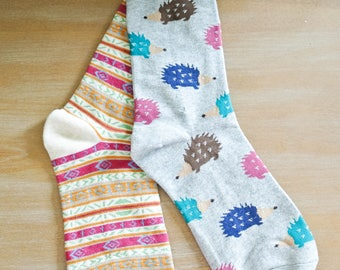 Tribal and Porcupine Mix and Match Crew Socks/Gift for Teen/Gift for Friend/Cotton Blend/Comfortable/Casual/Gift for a Girl/Beige