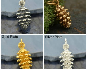 Sterling Silver, Pinecone Charm, Silver Pinecone, Pine Tree, Silver Pine Tree, Pinecone Jewelry, Pine Tree Jewelry, Bronze Pinecone