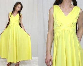 Vintage 70s YELLOW Empire Sleeveless FULL Skirt Retro Maxi Boho Party Dress S