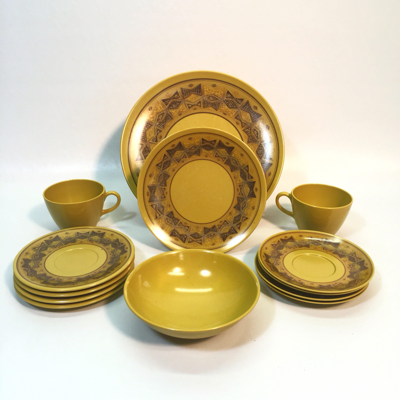 Vintage Mustard Yellow Brown Gold Bow Tie Geometric Pattern Melmac Melamine Dinnerware Canada & Vintage Mustard Yellow Brown Gold Bow Tie Geometric Pattern Melmac ...