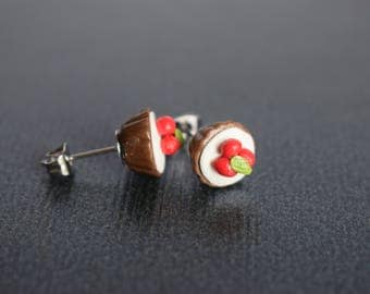 Cute Polymer Clay Chocolate Cupcake Stud Earrings With Cherries