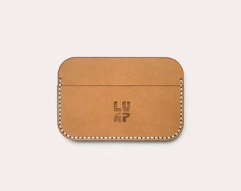 Card holder minimalist natural vegetable tanned leather