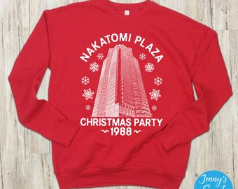 Nakatomi Christmas Party 1988 Ugly Christmas Sweater | Movie Crewneck Sweatshirt | Die Hard Holiday Apparel | Pop Culture Outerwear-5