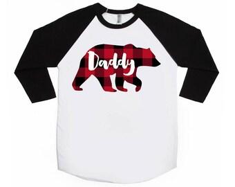 Daddy Bear - Buffalo Plaid Shirt - Unisex Adult Raglans -  Lumberjack Shirt - Plaid Bear - Papa Bear Shirt - Family  Shirts - Bear Shirts