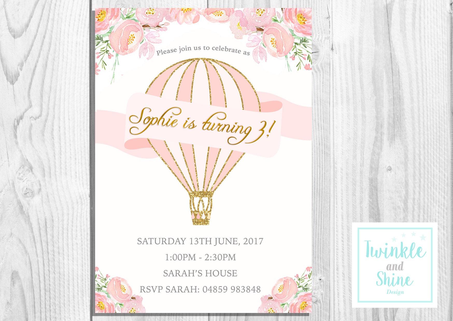 Printable Birthday Party Invitations, Pink, Hot Air Balloon, Cute ...