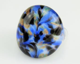 Ring (borosilicate glass) graphite / blue