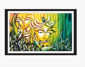 Radha Krishna, Indian art Print, Hindu God, Modern India print, Art Print, Printable art, Contemporary art, Indian Wall art, Indian decor