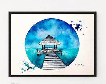 Maldives, Poster Print, Illustration art, City art, Watercolor Painting, Statue of Liberty, Travel art, Printable art, Art Print, City print
