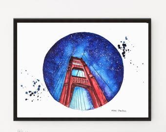 Golden Gate Bridge, California Painting, City art, San Francisco art, Travel Illustration, Art Print, Architecture art, Starry night art