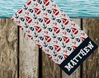 Sail boat beach towel boys beach towel nautical beach towel boys monogram towel party favor