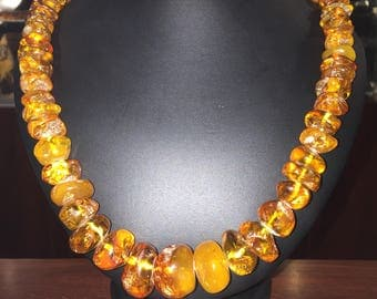 An Opera Length Amber Necklace. Russia, vintage circa 1970's.