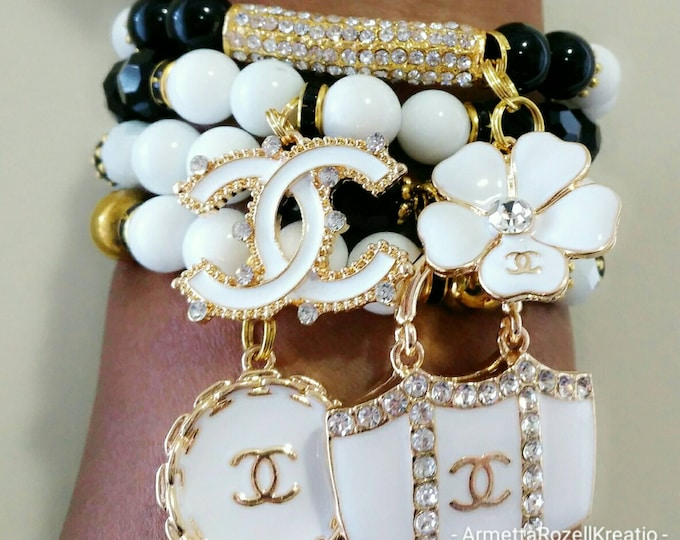 Designer Inspired Black, White & Gold Charm Bracelet Set, anniversary gifts, birthday gifts, gifts for her, mother's day gifts