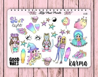27 Good Karma Stickers G-23 - Perfect for Erin Condren Life Planners / Journals / Stickers.
