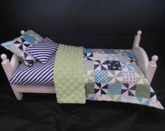 """American Handmade Doll Accessories Quilted  theme set fit 18"""" Doll Bed Mattress included"""