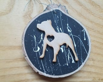 Pit Bull Gifts,Pit Bull Ornaments,Christmas Ornaments,Gifts for Dog Lovers,Wood Disk Ornaments,Wood Slice Ornaments,Pit Bull Decorations