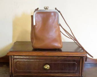Coach Double Kisslock Swing Bag In Brown Leather- Pre-Creed - Made In New York City- VGC