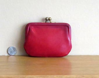 Spring Sale Coach Kisslock Change Purse In Red Leather With Brase Hardware- Style No 7155 - VGC