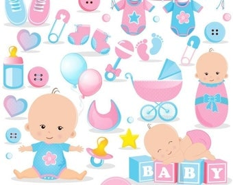 80% OFF SALE Baby shower clipart commercial use, baby reveal shower clipart, baby shower clipart, baby clip art, baby girl clipart - CA450