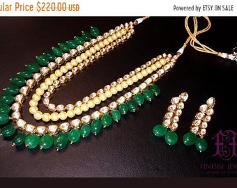 ON SALE Kundan Polki Haar,Gold Green Kundan, Haar Necklace,Long Rani Haar Necklace,Kundan Jewelry,Indian Jewelry,Polki Bridal Necklace,Polki