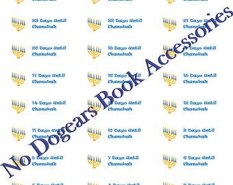 Chanukah Countdown Stickers / Planner Stickers / Calendar Stickers / Days Until Hanukkah Stickers