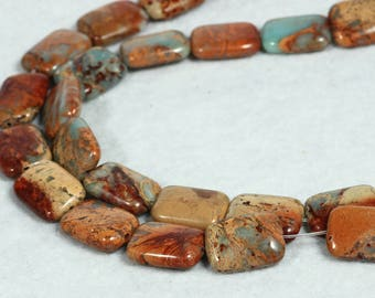 Brown Jasper Faceted Rectangle Beads 18mm