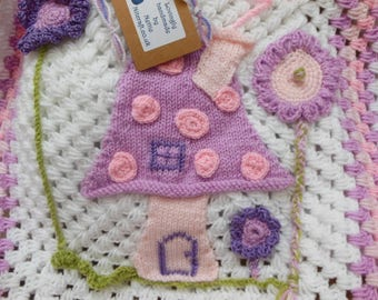 Unique Baby Blanket Crochet Baby Shower Gift with Fairy Applique Stroller, Pram, Crib Blanket First Grandchild Baby Girl White Pink Lavender