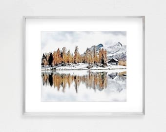 Mountain Print, Landscape Print, Nature Wall Art, Forest Print, Wilderness Print, Winter Decor, Modern Wall Art, Wall Art Prints, Nature Art