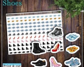 Shoes, Print & cut, SVG, FCM, ScanNCut, Silhouette, Cricut, Happy planner