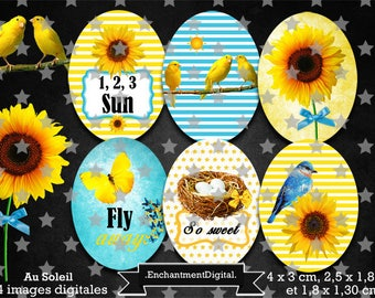 digital images * Sun * been bird Butterfly collage yellow sunflower flower digital scrapbooking cabochon jewel