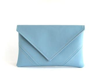 Sky Blue Clutch Handbag Vegan Leather Clutch Bag Bridesmaid Clutch Purse Gift For Her Evening Clutch Vegan Bag Leather Bag Gift For Mom