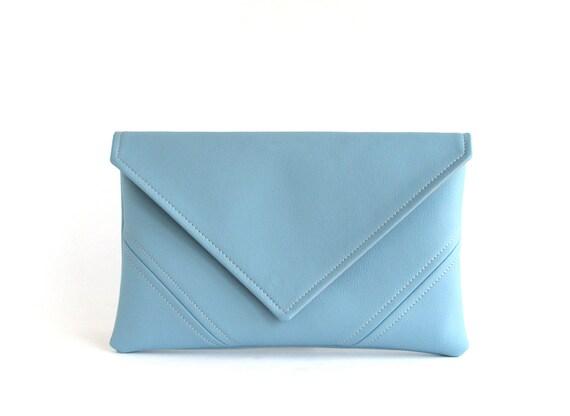 Sky Blue Clutch Handbag Vegan Leather Clutch Bag Bridesmaid