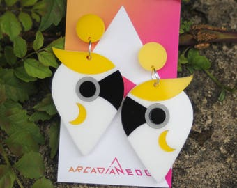 Cockatoo Parrot Bird Earrings - abstract laser cut acrylic plastic