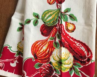 Vintage Kitchen TOWEL~Autumn Harvest Motif~Wilendur~Farmhouse Cottage Textile~Textile~Linens~Decor~1950's~Unused~Rich Colors