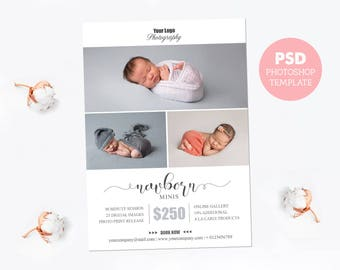 "Mini session template. Marketing board photography pricing template. Newborn session guide. Fully editable Photoshop PSD file 5x7"". MS017"