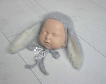Newborn bonnet,Newborn bunny,Newborn props,Knitted bonnet,Easter props,Bunny props,Baby props,Photo props,Photogrpahy props,Knit bonnet