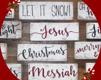 Choose your word, Stocking stuffer, teacher gift, gift for her, gift for him, Christmas blocks, one word blocks, Christmas gift, decor