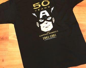 Vintage 50th anniversary Captain America T-shirt size XL