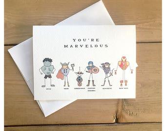 MARVEL CARD 2 // marvel comic, marvel, hulk, spider-man, iron man, captain america, avengers, super hero card, thor, birthday card, punny