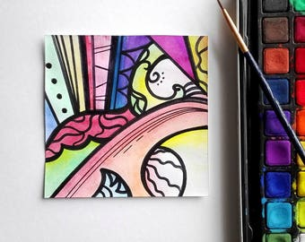 Abstract Painting original modern 4x4 art miniature painting multicolour Resolve by Caerys Walsh