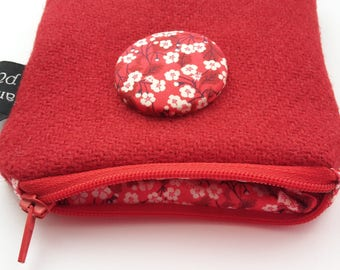 Harris Tweed Red Coin Purse, Liberty Mitsi Valeria Fabric, Wool Pouch, Zip Purse, Key case, Keepsafe purse, Love purse, Cherry blossom purse
