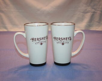 """Vintage Design of Set of 2 / Pair 6"""" tall Hershey's Tall Mug by Galerie Hot Cocoa, Coffee, Tea, Hot Chocolate"""