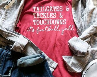 Women's football shirt, women's fall shirt, game day shirt, gameday shirt, football shirt, it's football y'all shirt, football season shirt